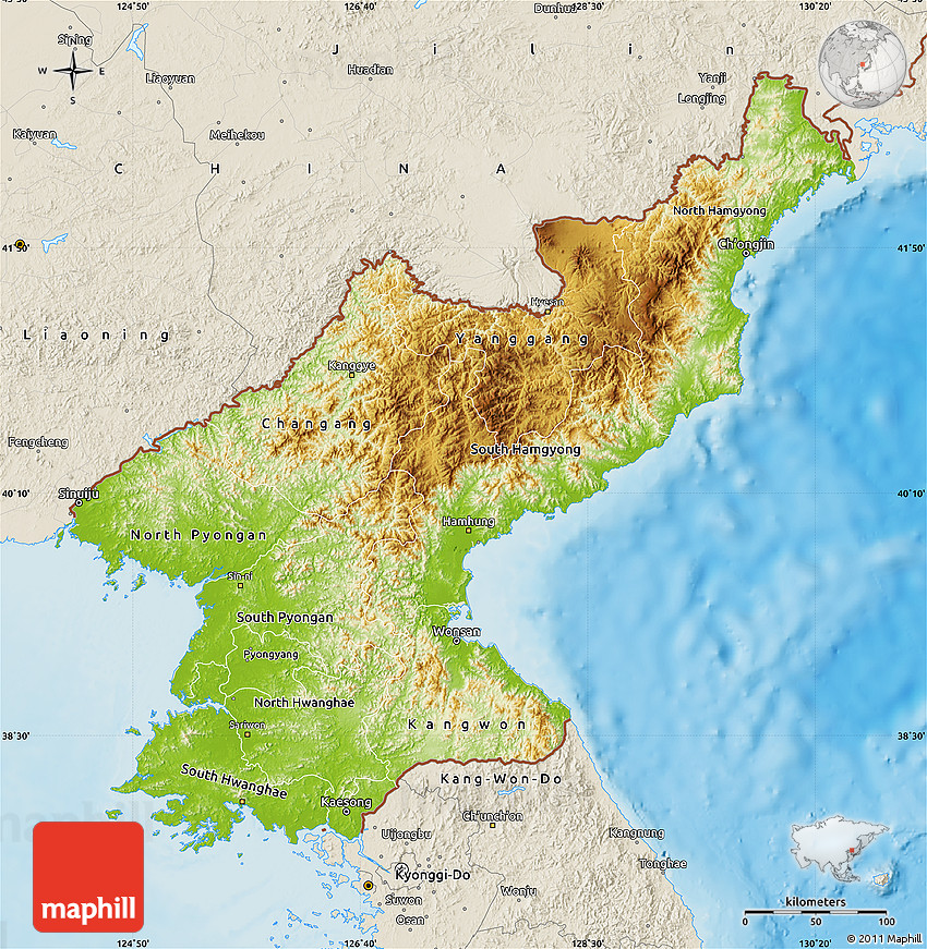 Physical Map of North Korea shaded relief outside