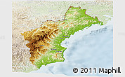 Physical Panoramic Map of North Hamgyong, lighten