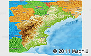 Physical Panoramic Map of North Hamgyong, political outside