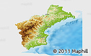 Physical Panoramic Map of North Hamgyong, single color outside