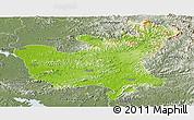 Physical Panoramic Map of North Hwanghae, semi-desaturated