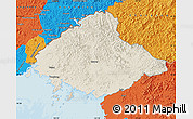 Shaded Relief Map of North Pyongan, political outside