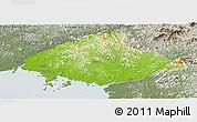 Physical Panoramic Map of North Pyongan, semi-desaturated