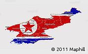 Flag Panoramic Map of North Korea