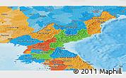 Political Panoramic Map of North Korea