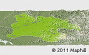 Physical Panoramic Map of Pyongyang, semi-desaturated