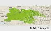 Physical Panoramic Map of Pyongyang, shaded relief outside