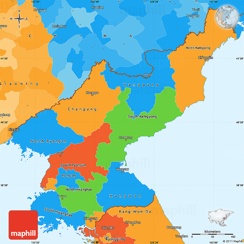 Political Simple Map Of North Korea