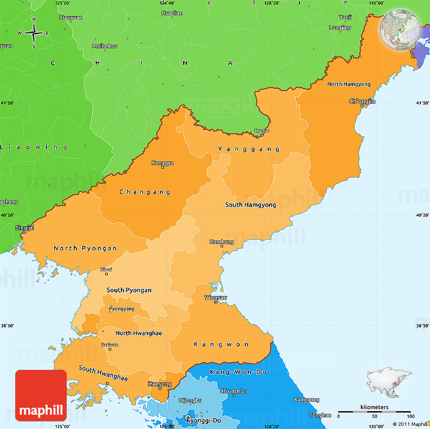 Political Shades Simple Map of North Korea
