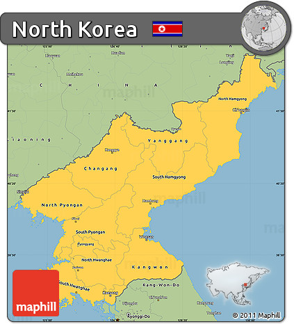 Free Savanna Style Simple Map of North Korea
