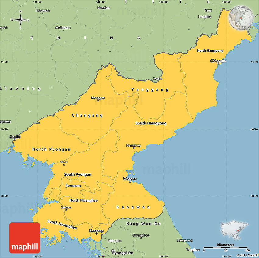 Savanna Style Simple Map Of North Korea - North korea map