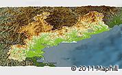 Physical Panoramic Map of South Hamgyong, darken
