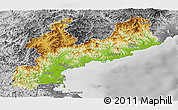 Physical Panoramic Map of South Hamgyong, desaturated