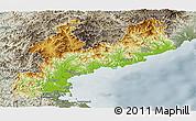Physical Panoramic Map of South Hamgyong, semi-desaturated