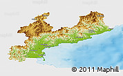 Physical Panoramic Map of South Hamgyong, single color outside