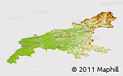 Physical Panoramic Map of South Pyongan, cropped outside