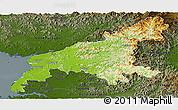 Physical Panoramic Map of South Pyongan, darken