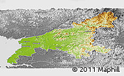 Physical Panoramic Map of South Pyongan, desaturated