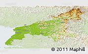 Physical Panoramic Map of South Pyongan, lighten