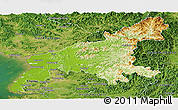 Physical Panoramic Map of South Pyongan, satellite outside
