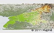 Physical Panoramic Map of South Pyongan, semi-desaturated