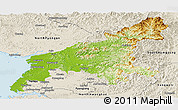 Physical Panoramic Map of South Pyongan, shaded relief outside