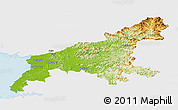 Physical Panoramic Map of South Pyongan, single color outside