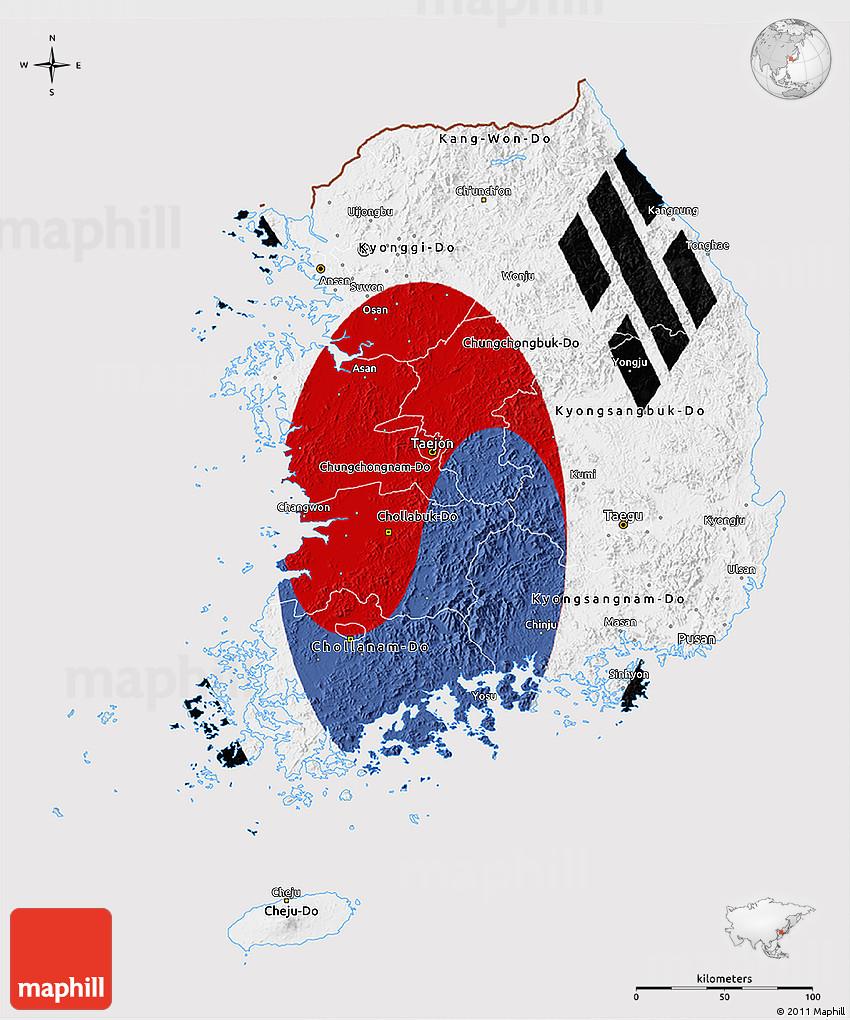 Flag 3D Map of South Korea South Korea Map Flag on
