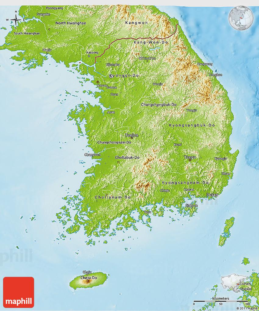 Ulsan Korea Map.Physical 3d Map Of South Korea