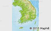 Physical 3D Map of South Korea