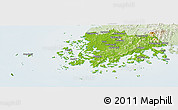 Physical Panoramic Map of Chollanam-Do, lighten