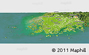 Physical Panoramic Map of Chollanam-Do, satellite outside