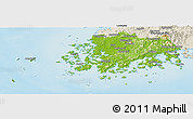 Physical Panoramic Map of Chollanam-Do, shaded relief outside