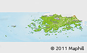 Physical Panoramic Map of Chollanam-Do, single color outside