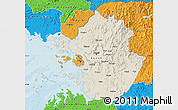 Shaded Relief Map of Kyonggi-Do, political outside