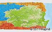 Physical Panoramic Map of Kyongsangbuk-Do, political outside