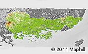 Physical Panoramic Map of Kyongsangnam-Do, desaturated