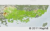 Physical Panoramic Map of Kyongsangnam-Do, semi-desaturated