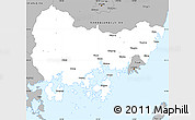 Gray Simple Map of Kyongsangnam-Do