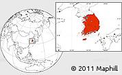 Blank Location Map of South Korea