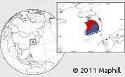 Flag Location Map of South Korea, blank outside