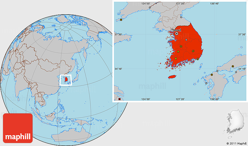 Gray Location Map of South Korea