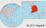 Gray Location Map of South Korea