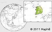 Physical Location Map of South Korea, blank outside