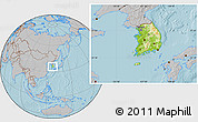 Physical Location Map of South Korea, gray outside, hill shading