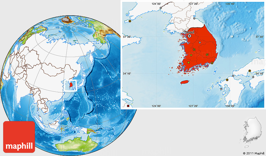 Physical Location Map of South Korea highlighted continent