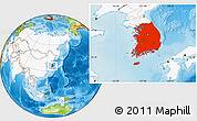 Physical Location Map of South Korea, highlighted continent