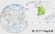 Physical Location Map of South Korea, lighten, desaturated