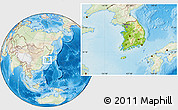 Physical Location Map of South Korea, lighten, land only
