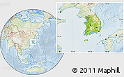 Physical Location Map of South Korea, lighten